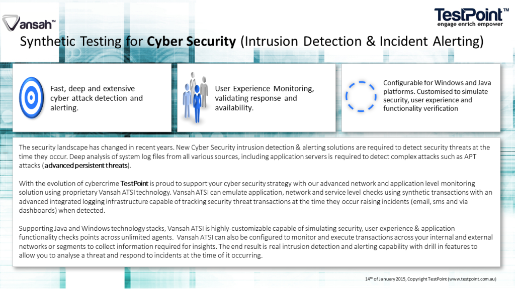 New Cyber Security intrusion detection & alerting solutions are required to detect security threats at the time they occur.